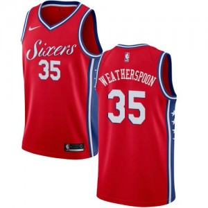 Nike Maillots Clarence Weatherspoon Philadelphia 76ers Enfant Rouge Statement Edition #35