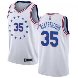 Maillots Weatherspoon 76ers Nike Earned Edition Enfant Blanc #35