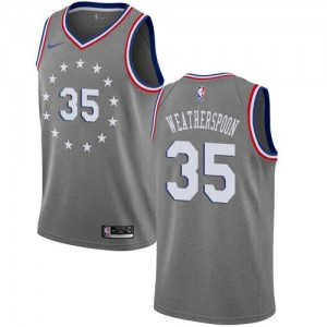 Maillots Basket Weatherspoon 76ers No.35 Enfant Nike City Edition Gris