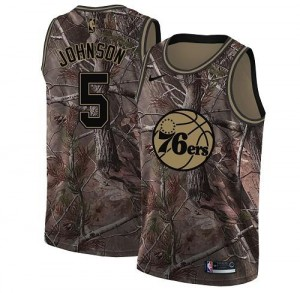 Maillot Basket Amir Johnson Philadelphia 76ers #5 Camouflage Homme Realtree Collection Nike