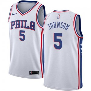 Maillots Basket Johnson Philadelphia 76ers No.5 Blanc Enfant Nike Association Edition