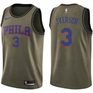 Maillot Iverson Philadelphia 76ers Homme Nike #3 vert Salute to Service