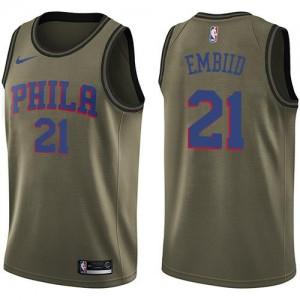 Nike Maillots Embiid 76ers No.21 Salute to Service vert Enfant