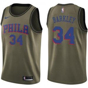 Nike NBA Maillots Basket Barkley 76ers vert #34 Enfant Salute to Service