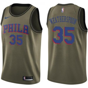 Nike NBA Maillots Basket Weatherspoon Philadelphia 76ers Salute to Service vert Homme #35