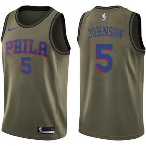 Nike NBA Maillots De Johnson Philadelphia 76ers vert Enfant Salute to Service #5