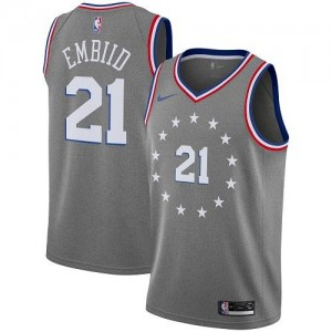 Nike NBA Maillots Basket Embiid 76ers Gris Homme No.21 City Edition