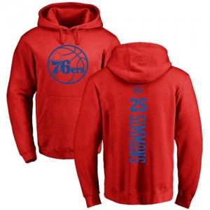 Nike NBA Hoodie De Ben Simmons 76ers No.25 Pullover Homme & Enfant Rouge One Color Backer