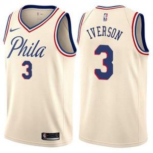 Nike NBA Maillot Basket Allen Iverson 76ers Homme City Edition No.3 Blanc laiteux