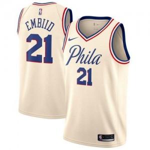 Nike NBA Maillots De Joel Embiid Philadelphia 76ers No.21 City Edition Blanc laiteux Homme