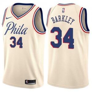 Nike NBA Maillots Barkley 76ers Blanc laiteux No.34 Homme City Edition