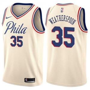 Nike NBA Maillots De Basket Clarence Weatherspoon Philadelphia 76ers City Edition Homme No.35 Blanc laiteux