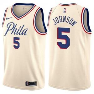 Nike Maillot De Johnson 76ers Homme City Edition #5 Blanc laiteux
