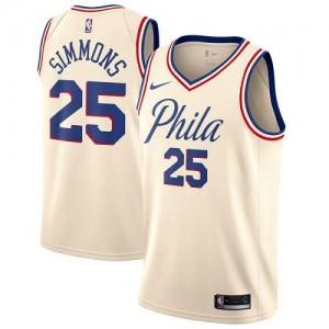 Nike Maillots De Ben Simmons 76ers #25 City Edition Homme Blanc laiteux