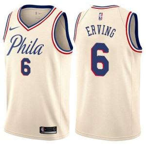 Maillot Basket Erving Philadelphia 76ers #6 Enfant Nike City Edition Blanc laiteux