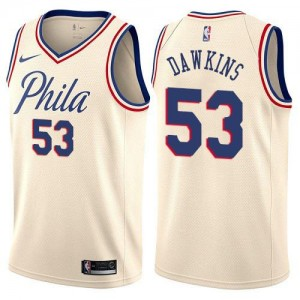 Nike NBA Maillot Basket Dawkins 76ers City Edition Blanc laiteux Enfant No.53
