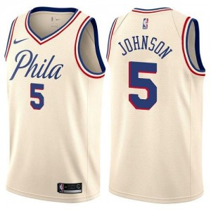 Nike NBA Maillot Basket Amir Johnson Philadelphia 76ers #5 City Edition Enfant Blanc laiteux