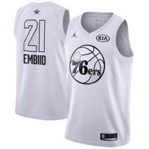 Jordan Brand NBA Maillots De Basket Joel Embiid Philadelphia 76ers Enfant No.21 2018 All-Star Game Blanc