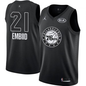 Jordan Brand Maillots Basket Joel Embiid 76ers 2018 All-Star Game No.21 Enfant Noir