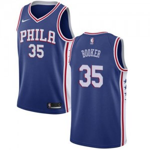 Nike NBA Maillots De Booker 76ers Icon Edition #35 Bleu Homme