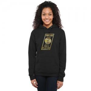 Sweat à capuche Portland Trail Blazers Gold Collection Ladies Pullover Noir Femme