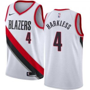 Nike NBA Maillots Moe Harkless Blazers Enfant Association Edition Blanc No.4