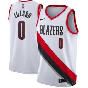 Maillots Lillard Portland Trail Blazers #0 Blanc Association Edition Enfant Nike