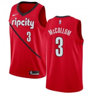 Nike NBA Maillots De C.J. McCollum Blazers Earned Edition #3 Homme Rouge