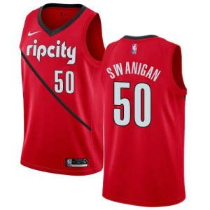 Nike NBA Maillots Basket Swanigan Portland Trail Blazers Rouge Enfant No.50 Earned Edition