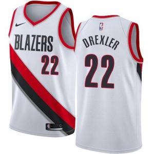 Nike Maillots De Basket Clyde Drexler Portland Trail Blazers Blanc Enfant #22 Association Edition