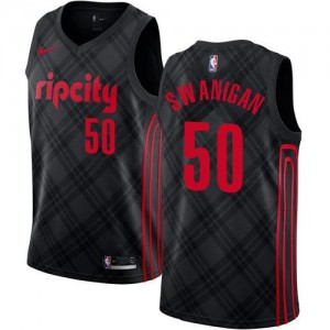 Nike Maillots Swanigan Blazers Noir City Edition Homme #50