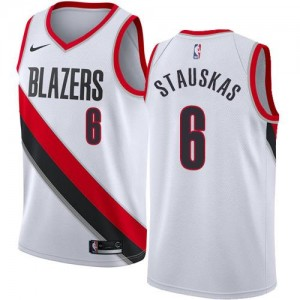 Nike NBA Maillots Stauskas Blazers #6 Blanc Enfant Association Edition