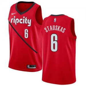 Nike NBA Maillots De Nik Stauskas Blazers Enfant Earned Edition Rouge #6