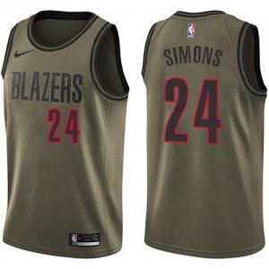 Nike Maillots Anfernee Simons Portland Trail Blazers Homme vert Salute to Service #24