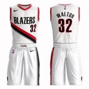 Nike NBA Maillots De Basket Walton Blazers #32 Enfant Blanc Suit Association Edition
