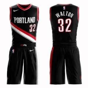 Nike NBA Maillots Basket Walton Blazers #32 Noir Suit Icon Edition Enfant