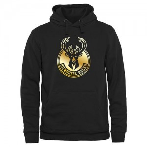 NBA Hoodie Basket Milwaukee Bucks Noir Homme Gold Collection Pullover