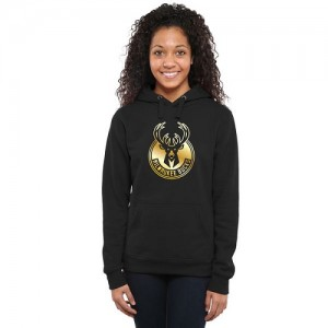 NBA Sweat à capuche De Basket Bucks Gold Collection Ladies Pullover Noir Femme