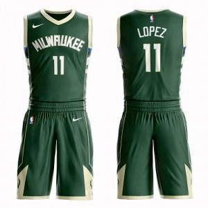 Nike Maillots Basket Lopez Bucks Suit Icon Edition Homme vert No.11