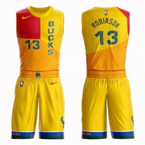 Nike NBA Maillot De Basket Robinson Milwaukee Bucks Jaune Suit City Edition No.13 Homme