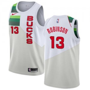 Nike NBA Maillots Robinson Milwaukee Bucks #13 Blanc Earned Edition Homme