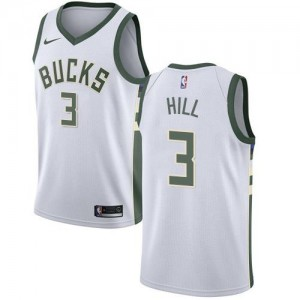 Nike Maillot Hill Milwaukee Bucks Blanc #3 Enfant Association Edition