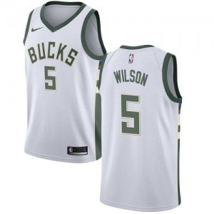 Nike NBA Maillots Basket Wilson Milwaukee Bucks Blanc Association Edition Enfant No.5