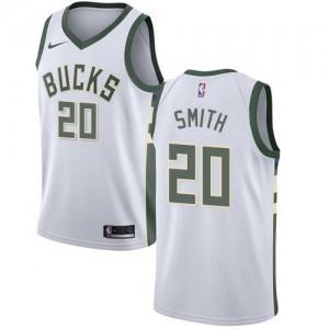Nike NBA Maillots Basket Smith Milwaukee Bucks Association Edition #20 Homme Blanc