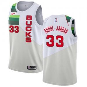 Nike NBA Maillots De Abdul-Jabbar Bucks Blanc Earned Edition No.33 Homme