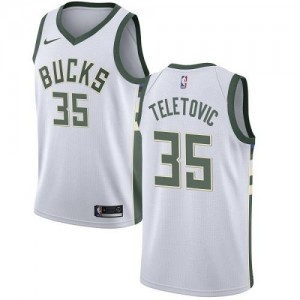 Nike Maillot Teletovic Milwaukee Bucks Enfant Blanc Association Edition No.35