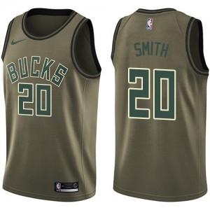 Nike Maillots Basket Jason Smith Milwaukee Bucks Salute to Service No.20 vert Homme