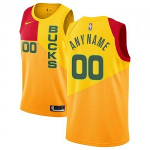 Nike Personnalise Maillot De Basket Bucks Homme City Edition Jaune