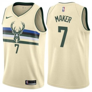 Maillots De Thon Maker Bucks #7 Nike Enfant Blanc laiteux City Edition