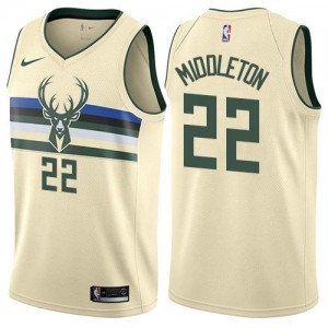 Nike Maillots Khris Middleton Bucks City Edition Blanc laiteux Enfant No.22